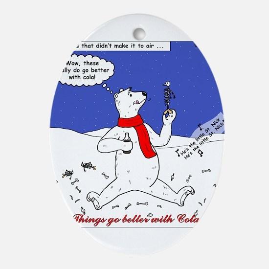 Polar Bear Penguin Pop Ornament (Oval)