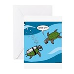 Seaturtle SCUBA Greeting Cards (Pk of 10)