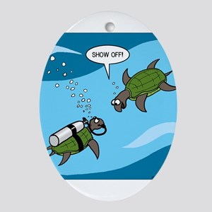 Seaturtle SCUBA Ornament (Oval)