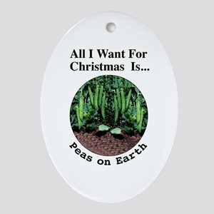 Xmas Peas on Earth Ornament (Oval)