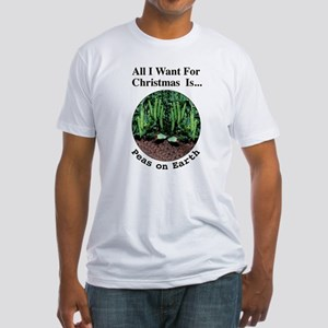 Xmas Peas on Earth Fitted T-Shirt