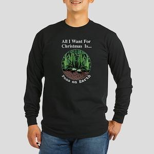 Xmas Peas on Earth Long Sleeve Dark T-Shirt