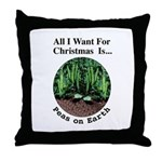 Xmas Peas on Earth Throw Pillow