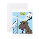 T-Rex Volleyball Greeting Card