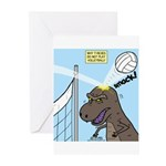 T-Rex Volleyball Greeting Cards (Pk of 20)
