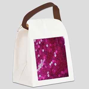Pink Sequins Print Canvas Lunch Bag