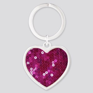 Pink Sequins Print Heart Keychain