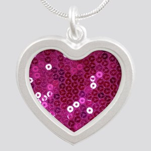 Pink Sequins Print Silver Heart Necklace