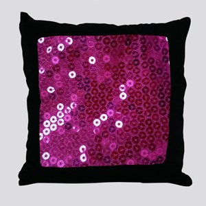 Pink Sequins Print Throw Pillow
