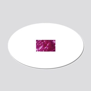 Pink Sequins Print 20x12 Oval Wall Decal