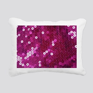 Pink Sequins Print Rectangular Canvas Pillow