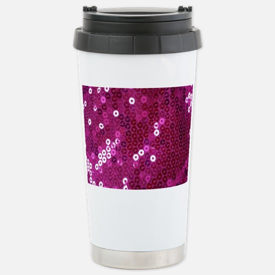 Pink Sequins Print Stainless Steel Travel Mug