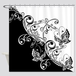Black and White Butterflies Shower Curtain