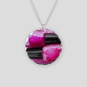 Pink Nail Polish Necklace Circle Charm