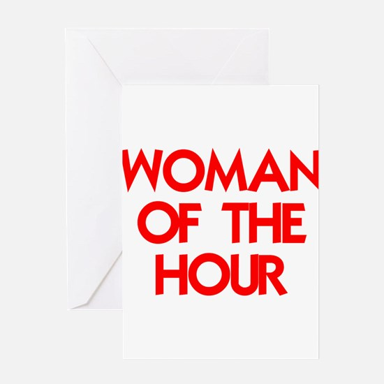 WOMAN OF THE HOUR.psd Greeting Cards
