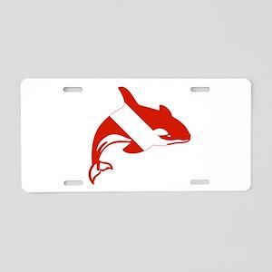 Orca Diver Aluminum License Plate
