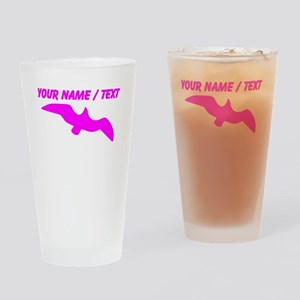 Custom Pink Seagull Silhouette Drinking Glass