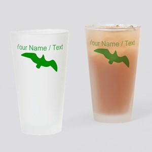Custom Green Seagull Silhouette Drinking Glass