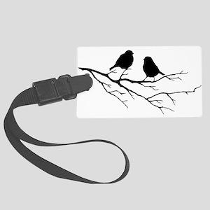 Two Little white Sparrow Birds Black silhouette La