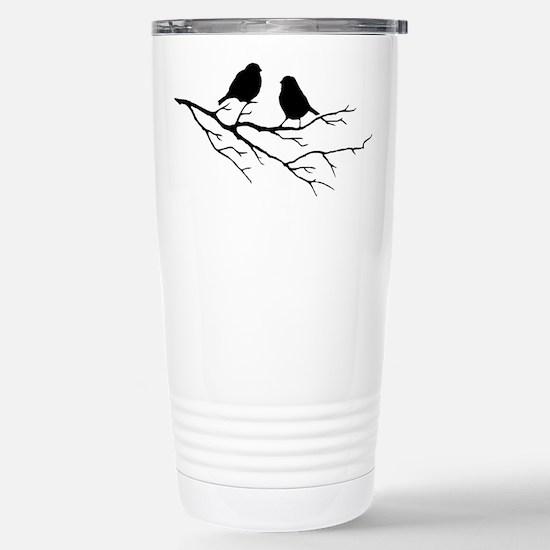 Two Little white Sparrow Birds Black silhouette Tr