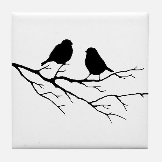 Two Little white Sparrow Birds Black silhouette Ti
