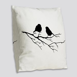 Two Little white Sparrow Birds Black silhouette Bu