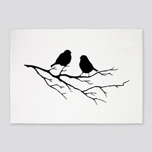Two Little white Sparrow Birds Black silhouette 5'