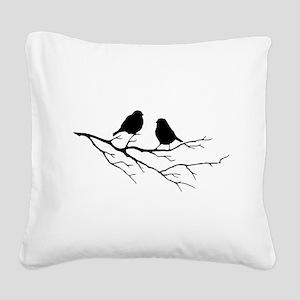 Two Little white Sparrow Birds Black silhouette Sq