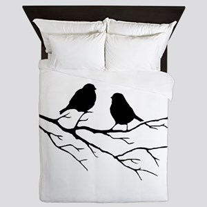Two Little white Sparrow Birds Black silhouette Qu