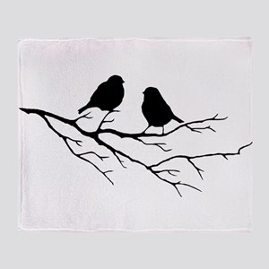 Two Little white Sparrow Birds Black silhouette Th