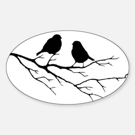 Two Little white Sparrow Birds Black silhouette St