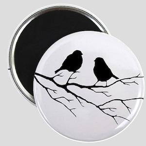 Two Little white Sparrow Birds Black silhouette Ma