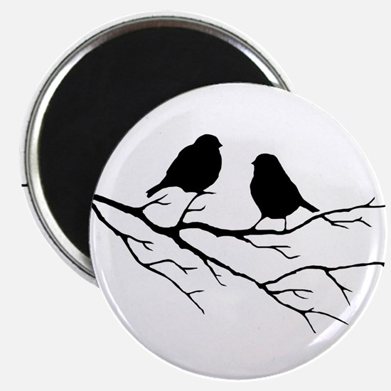 Two Little white Sparrow Birds Black silhouette Ma