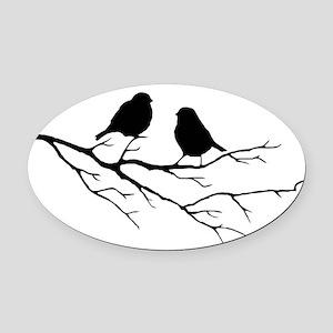Two Little white Sparrow Birds Black silhouette Ov