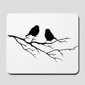Two Little white Sparrow Birds Black silhouette Mo