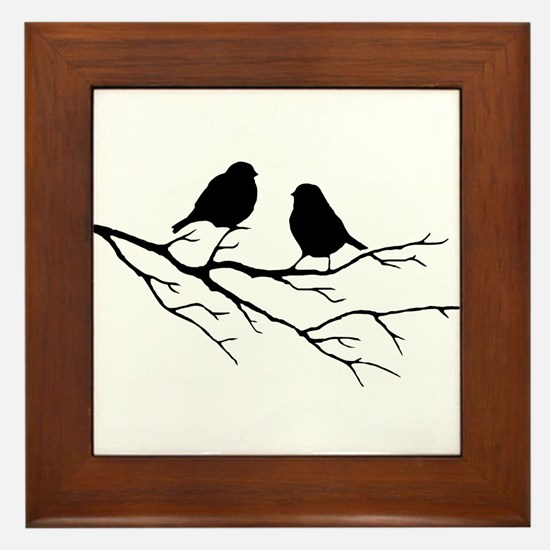 Two Little white Sparrow Birds Black silhouette Fr