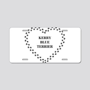 kerry blue terrier paw heart Aluminum License Plat