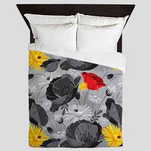 Poppies and Daisies Spot Color Queen Duvet
