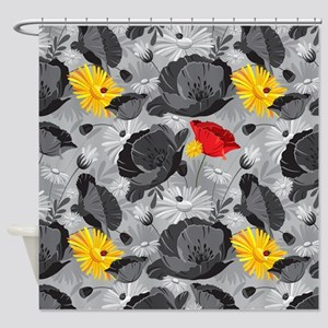 Poppies and Daisies Spot Color Shower Curtain