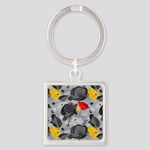 Poppies and Daisies Spot Color Keychains