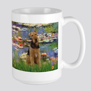 Airedale in Monet's Lilies Large Mug