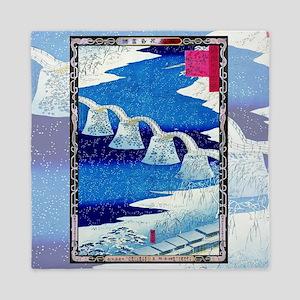 Hiroshige Kintai Bridge, Snowstorm Queen Duvet