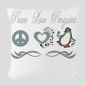 Peace love poker Woven Throw Pillow
