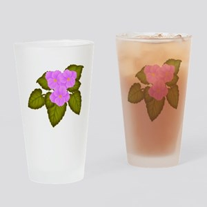Purple African Violets Drinking Glass