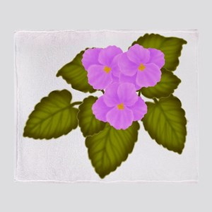 Purple African Violets Throw Blanket