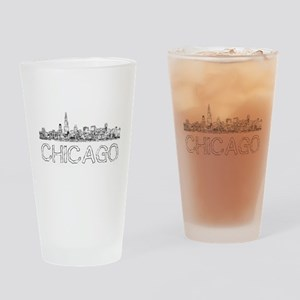 Chicago outline-4 Drinking Glass