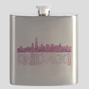 Chicago outline-4-PINK Flask