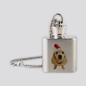 Dachshund_Xmas_004 Flask Necklace