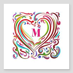 "Monogrammed Art Heart Square Car Magnet 3"" x 3"""