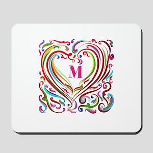 Monogrammed Art Heart Mousepad